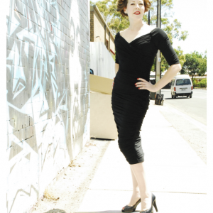 The Monica Wiggle Dress in Black by Pinup Girl Clothing at Ill-Gotten Gains