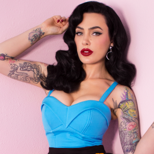 The Maneater Top in Light Blue by Vixen Micheline Pitt at Ill-Gotten Gains