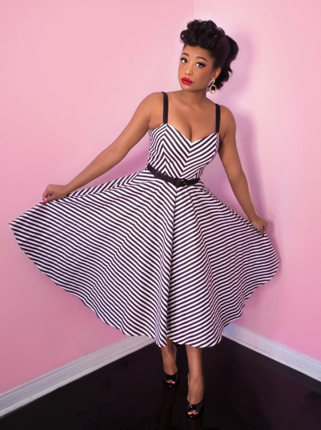 f19f6c5ab10b The Dollface Swing Dress in Black and White Stripe by Vixen at Ill-Gotten  Gains