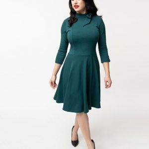 6dbc6fafc The Parker Flare Dress in Teal Knit with Three-Quarter Sleeves by Unique  Vintage