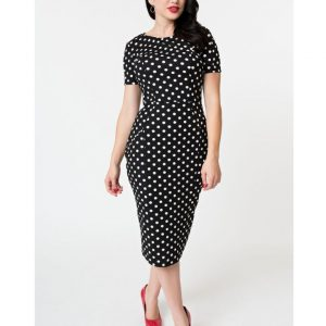 7513d5900 1960s Black   White Dotted Short Sleeve Stretch Mod Wiggle Dress by Unique  Vintage