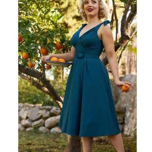BATTY-KAT SLEEVELESS SWING DRESS IN TEAL BY MISS CANDYFLOSS AT ILL-GOTTEN GAINS