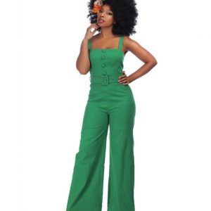 COLLECTIF MAINLINE OLYMPIA PLAIN JUMPSUIT IN GREEN AT ILL-GOTTEN GAINS