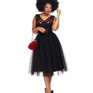 COLLECTIF MAINLINE CLAUDETTE OCCASION SWING DRESS AT ILL-GOTTEN GAINS