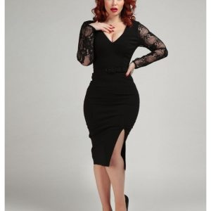 COLLECTIF MAINLINE GERMANA LACE PENCIL DRESS AT ILL-GOTTEN GAINS