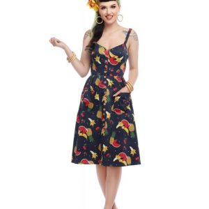 COLLECTIF MAINLINE KIMBERLY POLKA FRUIT SWING DRESS AT ILL-GOTTEN GAINS
