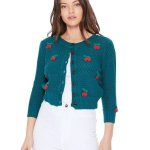 Cherry Pom Pom Cropped Knit Cardigan Sweater by Mak at ILL-GOTTEN GAINS
