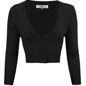Cropped 3_4 Sleeve Cardigan in Black by Mak at Ill-Gotten Gains-