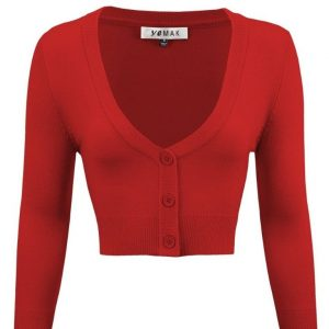 Cropped 3/4 sleeve Cardigan in Red by Mak at ILL-GOTTEN GAINS