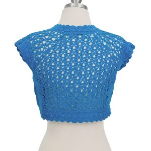 Hand Crocheted Bolero Knit Cardigan Shrug Sweater In Turquoise by Mak At ILL-GOTTEN GAINS