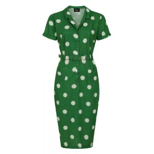 CATERINA PAINTED POLKA GREEN PENCIL DRESS BY COLLECTIF MAINLINE